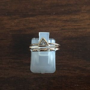 Gold over stainless steel two cz rings size 7